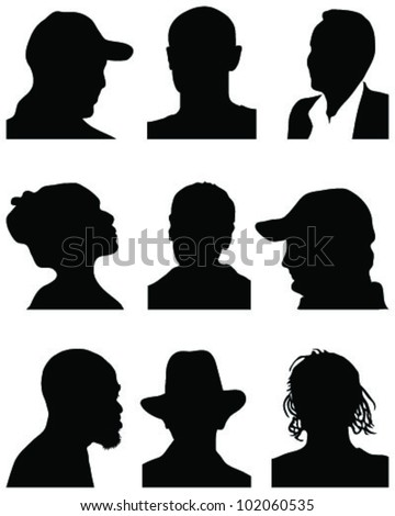 set of silhouettes of heads 3, vector