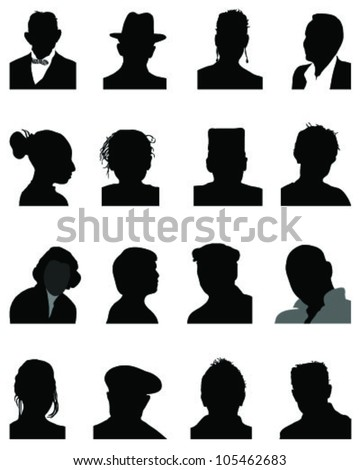 Set of silhouettes of heads 4, vector