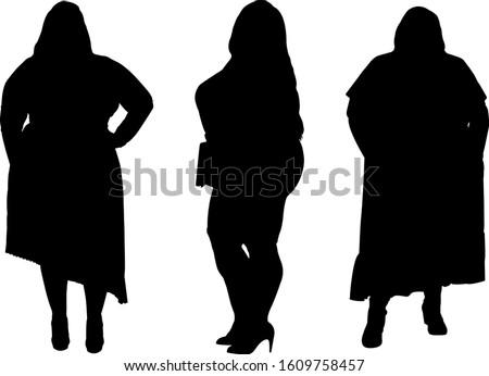 Set of silhouettes of obese women. Dumplings, women XXL size. Beautiful curvy women. Overweight ladies. Fat females. Vector illustration.