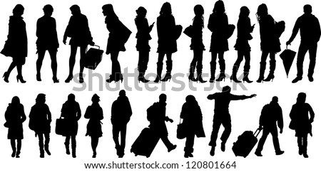 Set of 21 silhouettes of people in action