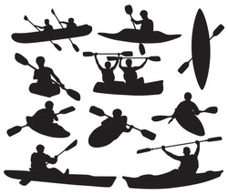 Set of silhouettes of people swimming in a canoe. Black white illustration of a kayak with men. Vector drawing of rowing boat for logo.