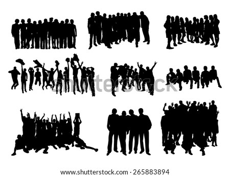 set of silhouettes of rejoicing