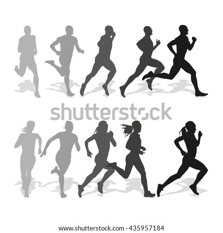 set of silhouettes of running