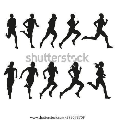 Set of silhouettes of running men and women. Vector, run