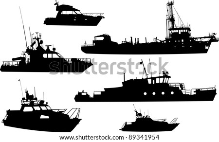 Set of silhouettes of sea yachts and the ships