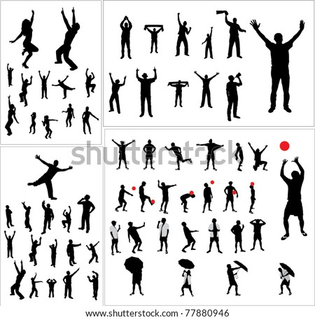 Set of silhouettes of sports fans dancers and people involved in sports