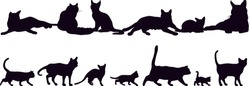 Set of silhouettes of the cats vector illustrations - Isolated on white background