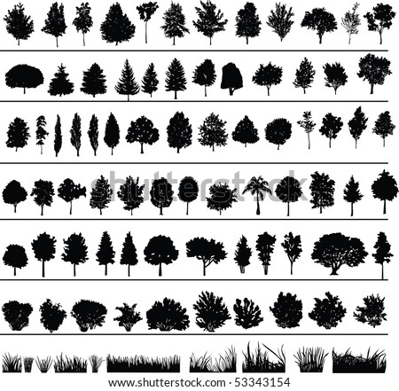 stock-vector-set-of-silhouettes-of-trees-bushes-and-grass