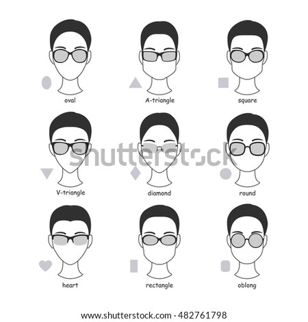 Set of silhouettes of various types of spectacle eyeglasses. Faces ...