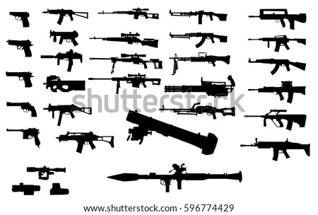 set of silhouettes of various
