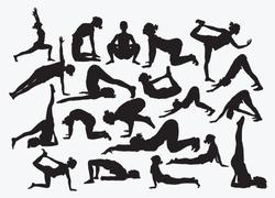 set of silhouettes of yoga girls vector illustration