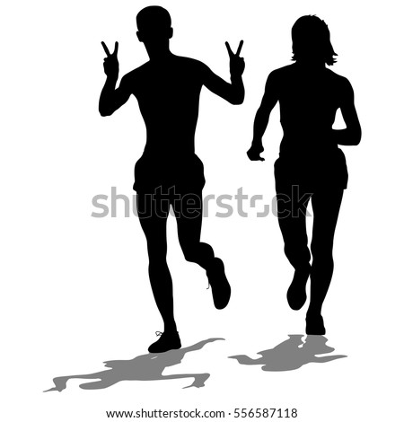 Set of silhouettes. Runners on sprint men and woman. Vector illustration.