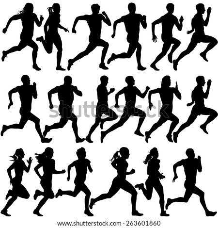 set of silhouettes runners on