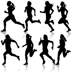 Set of silhouettes. Runners on sprint, women. vector illustration.