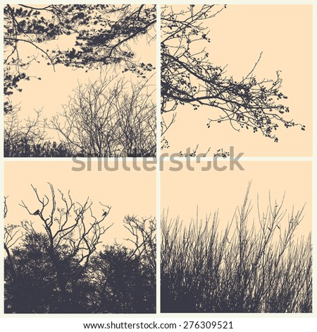 set of silhouettes trees