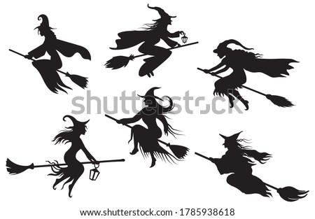 Set of silhouettes witches flying on a broomstick. Collection of mythical characters for Halloween. Magic female in witch hat. Terrifying sticker. Vector illustration outline of scary personage.