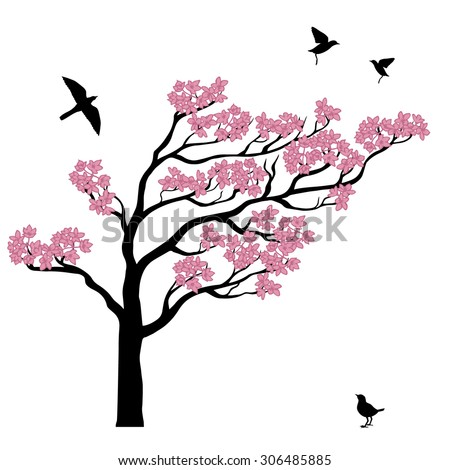 set of silhouttes of sakura