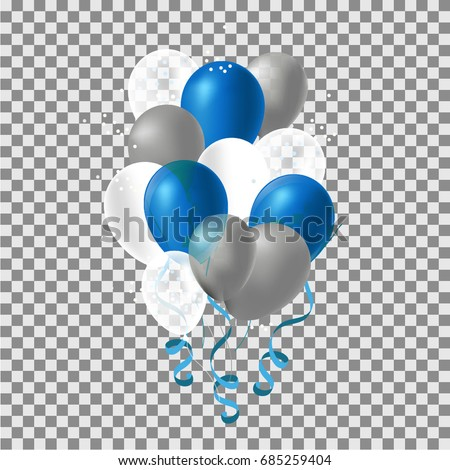 Set of silver,  blue helium balloon. Frosted party balloons for event design. Balloon Party decorations for birthday, anniversary, celebration. Festive Balloons.