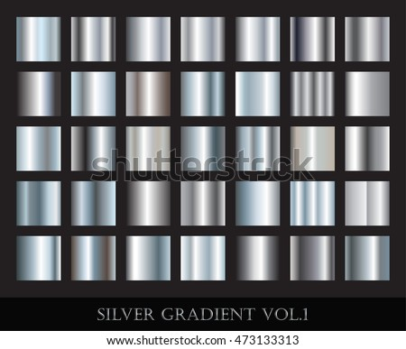 Set of silver gradients.Metallic squares collection.Vector illustration.