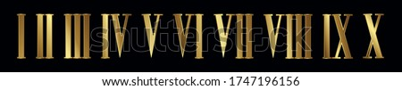 Set of silver, jewelry, isolated Steampunk Roman numerals with gears on black background. Vector illusration EPS 10 Stock photo ©