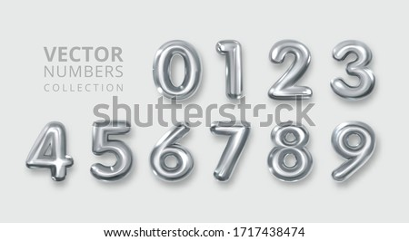 Set of silver, metal numbers. Number 1 2 3 4 5 6 7 8 9 0. Alphabet Font. Typography Design Element. Party Background. Foil Symbol. Bright Metallic 3D, vector realistic illustration Foto stock ©