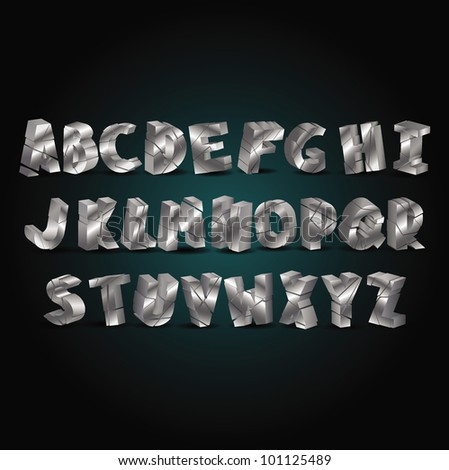 set of silver metallic  fonts - stock vector