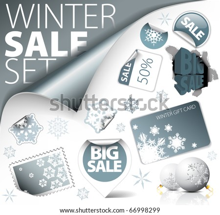 Set of silver winter discount tickets, labels, stamps, stickers, corners, tags (vector)