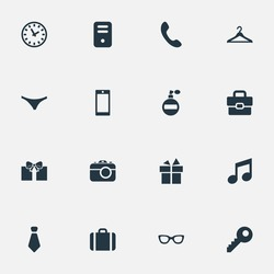 Set Of 16 Simple Accessories Icons. Can Be Found Such Elements As Mobile Phone, System Unit, Music And Other.