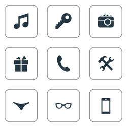 Set Of 9 Simple Accessories Icons. Can Be Found Such Elements As Underwear, Eyeglasses, Music And Other.