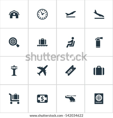 set of 16 simple airport icons