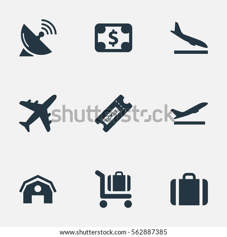 Set Of 9 Simple Airport Icons. Can Be Found Such Elements As Baggage Cart, Coupon, Takeoff And Other.