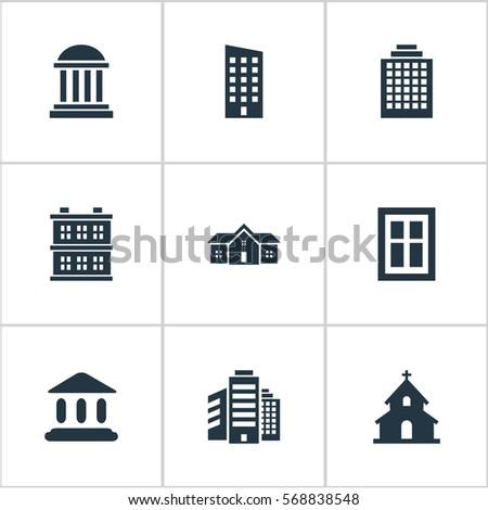 Set Of 9 Simple Architecture Icons. Can Be Found Such Elements As Residence, Academy, Floor And Other.