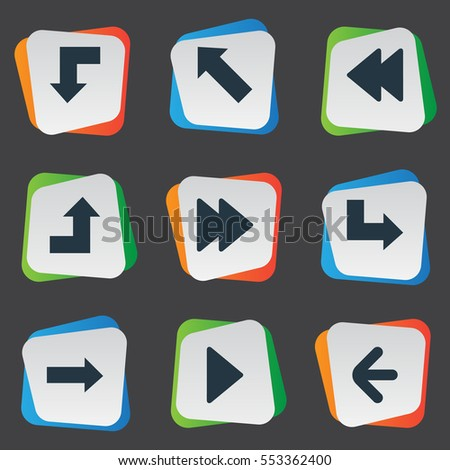 Set Of 9 Simple Arrows Icons. Can Be Found Such Elements As Reduction, Right Direction, Advanced And Other.