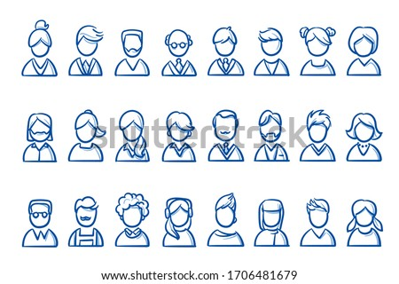 Set of simple avatar portrait icons of different people: man, woman, young and old, casual and business outfit. Hand drawn line art cartoon vector illustration.