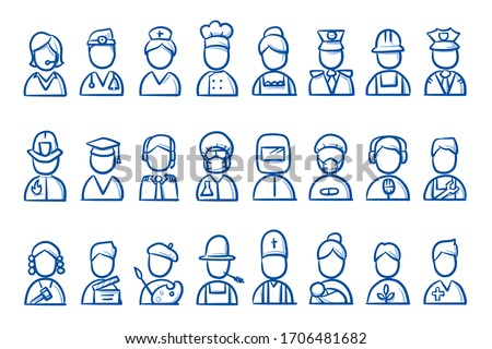 Set of simple avatar portrait icons of different professions: consulting, security, gastronomy, science, health, craftsmanship, etc. Hand drawn line art cartoon vector illustration. Photo stock ©