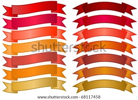 Set of simple Banners - basic non-glossy banners in red, orange and gold gradients
