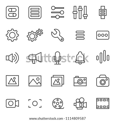 set of simple basic ui-ux icons, with thin line style, use for web, application, software design,modern, user frendly, perfect pixel, startup, ecommerce web, contact person, editable stroke