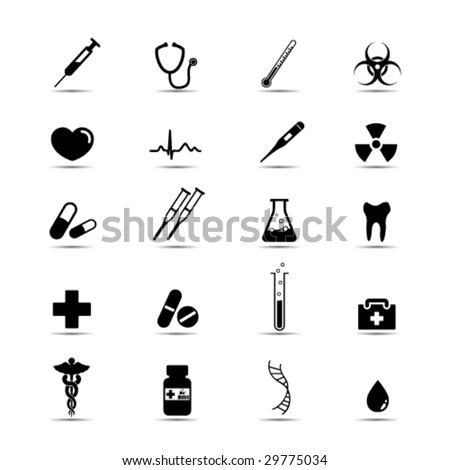 Set of simple black and white medical icons