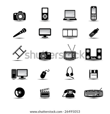 Set of simple black and white multimedia icons
