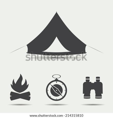 set of simple black camping