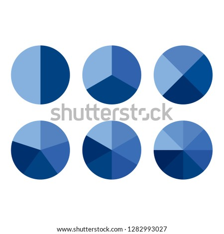 Set of simple blue gradient info piecharts / segment of circle element icons for 2, 3, 4, 5, 6, 8. Modern flat design infographics template for app, ui, ux, vector eps10 isolated on white background