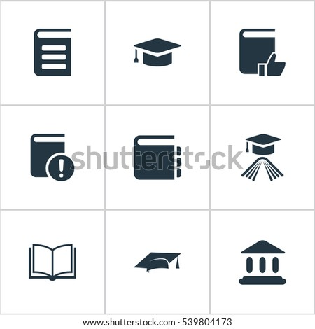 set of 9 simple books icons