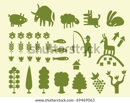 Set of simple cartoon silhouettes of trees and animals, vectorial