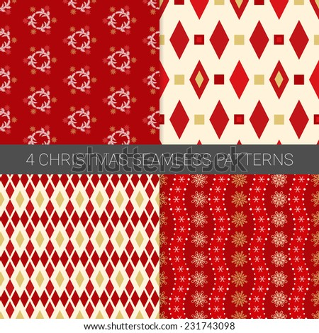 Set Of Simple Christmas Patterns With Snowflakes, Fir Branches
