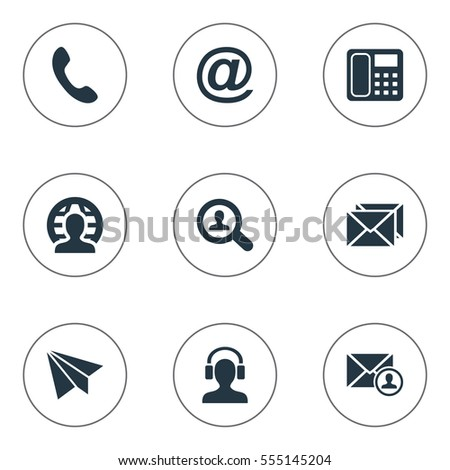 Set Of 9 Simple Contact Icons. Can Be Found Such Elements As Correspondence, Epistle Author, Intercommunication And Other.