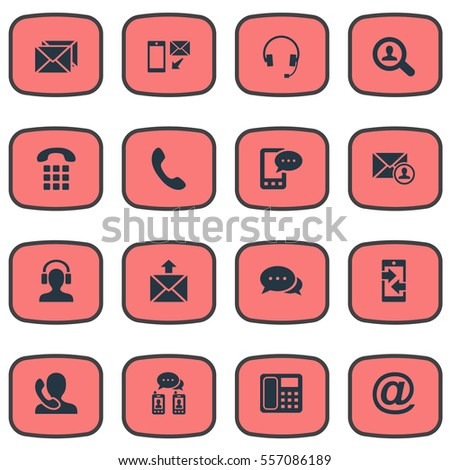 set of 16 simple contact icons
