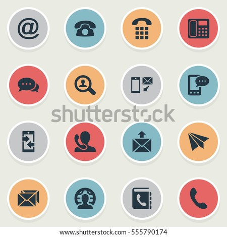 Set Of 16 Simple Contact Icons. Can Be Found Such Elements As House Phone, Intercommunication, Job Research And Other.