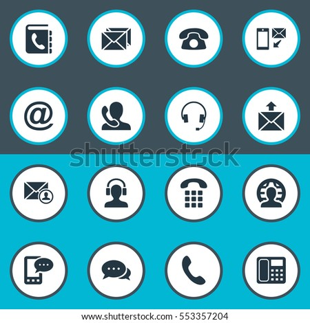 Set Of 16 Simple Contact Icons. Can Be Found Such Elements As Speaking Human, Telephone Directory, Postal And Other.