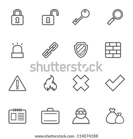 Set of simple contour security icons