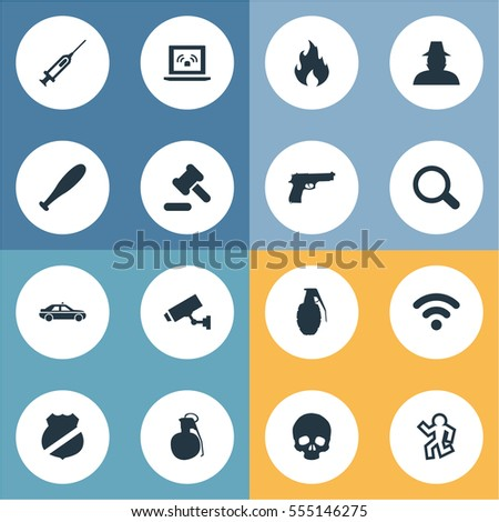 set of 16 simple crime icons